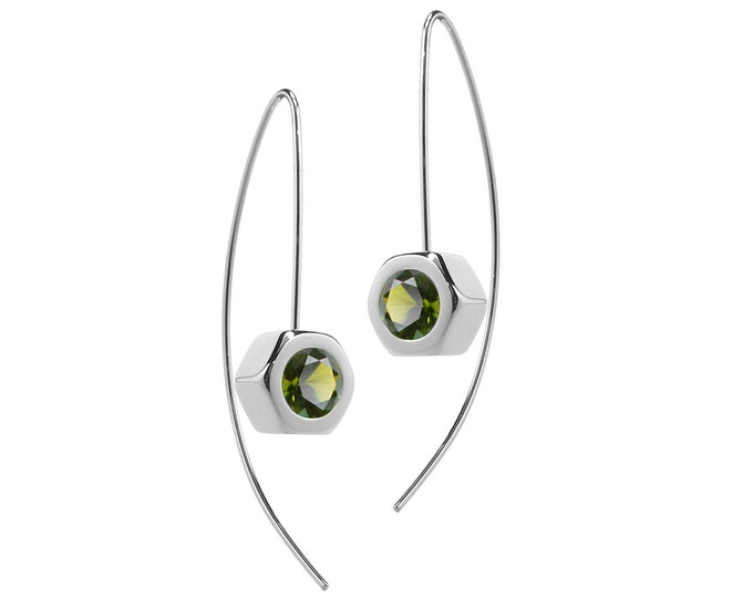 Hex Nut Earrings with Peridot in Stainless Steel by Taormina Jewelry