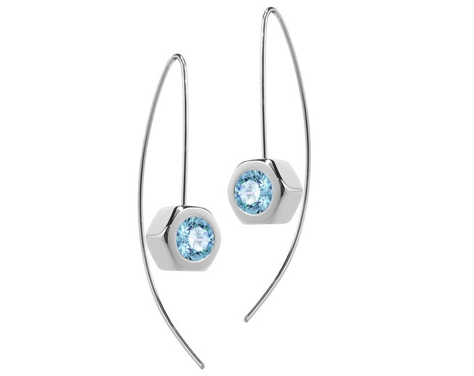 Hex Nut Earrings with Blue Topaz in Stainless Steel by Taormina Jewelry