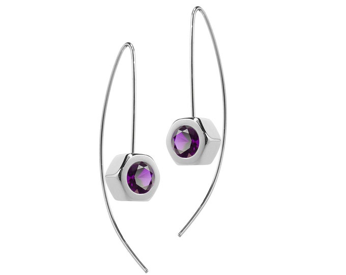 Hex Nut Earrings with Amethyst in Stainless Steel by Taormina Jewelry