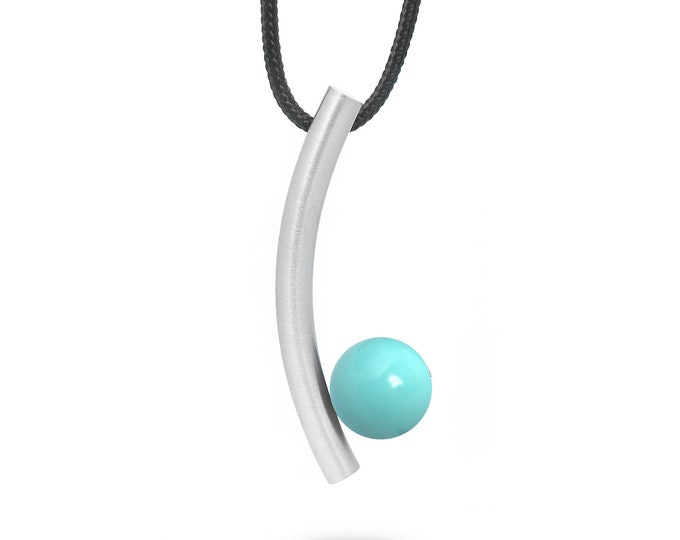 Taormina Modern Turquoise Pendant in Stainless Steel by Taormina Jewelry