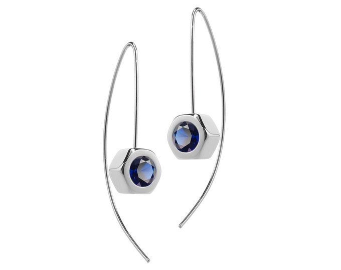 Hex Nut Earrings with Blue Sapphire in Stainless Steel by Taormina Jewelry