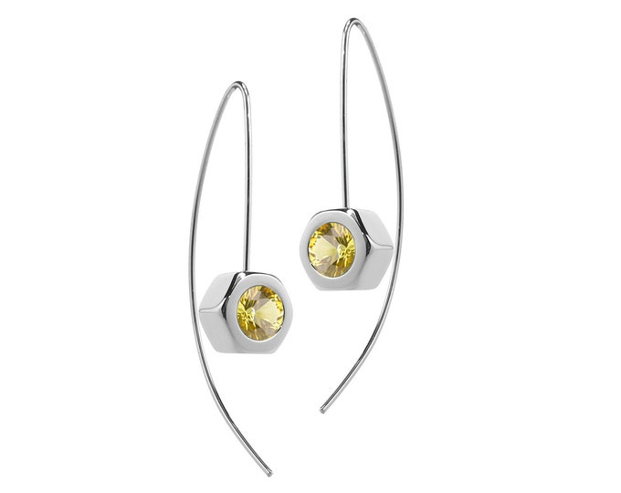Hex Nut Earrings with Yellow Sapphire in Stainless Steel by Taormina Jewelry