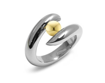 Gold and Stainless Steel Two Tone Ring Tension Set by Taormina Jewelry