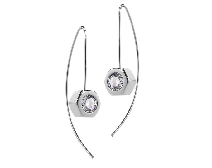 Hex Nut Earrings with White Sapphire in Stainless Steel
