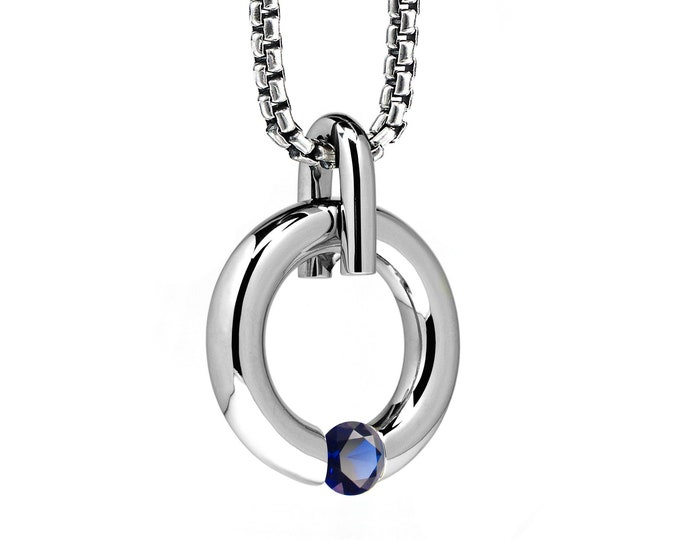 Blue Sapphire Tension Set Round Pendant in Stainless Steel by Taormina Jewelry