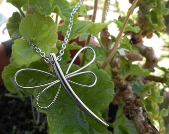 Dragonfly Necklace in Stainless Steel, Dragonfly Jewelry by Taormina Jewelry
