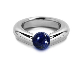 Modern Lapis Lazuli Tension Set Ring Stainless Steel by Taormina Jewelry