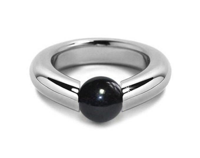 Modern  Black Onyx Tension Set Ring Stainless Steel Modern Jewelry
