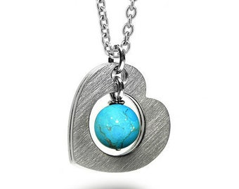Open Heart Necklace with Turquoise sphere in Stainless Steel by Taormina Jewelry