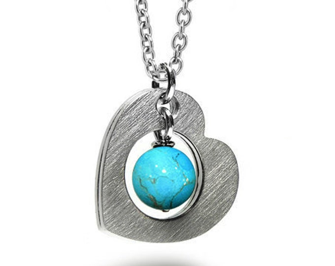 Open Heart Necklace with Turquoise sphere in Stainless Steel