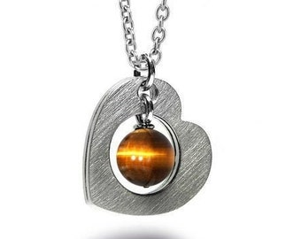 Open Heart Necklace Stainless Steel with Tiger Eye by Taormina Jewelry
