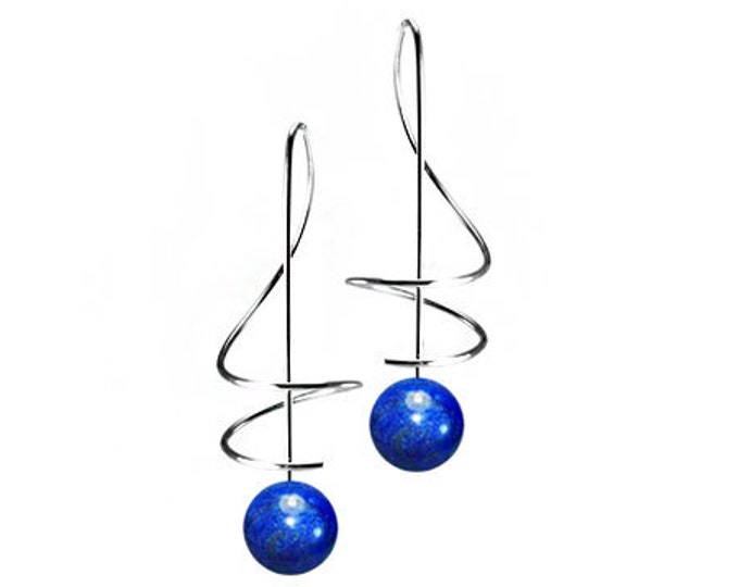 Lapis Lazuli Drop Earrings Stainless Steel Wire Music Key Design