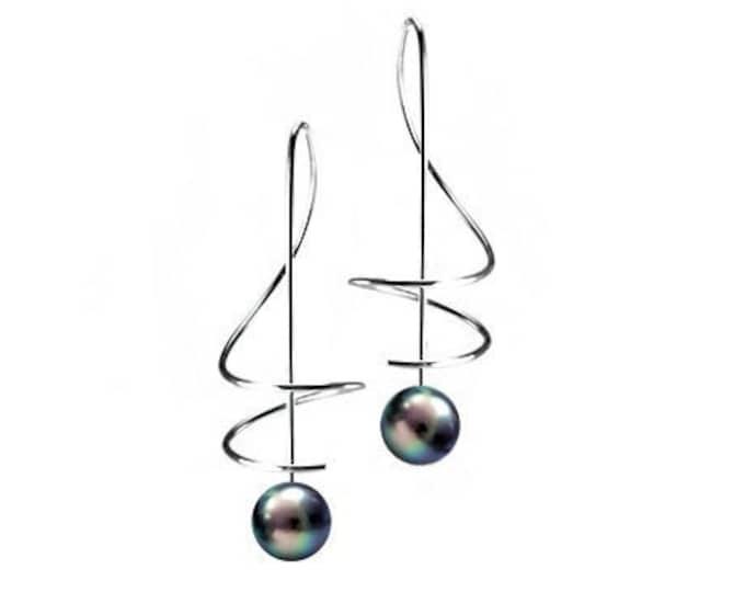 Black Pearls Drop Earrings Stainless Steel Wire Music Key by Taormina Jewelry