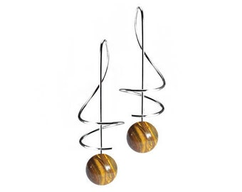 Taormina Tiger Eye Drop Earrings Stainless Steel Wire Music Key Design by Taormina Jewelry