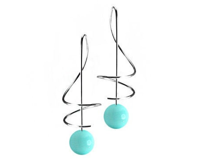 Turquoise Drop Earrings Stainless Steel Wire Music Key Design by Taormina Jewelry