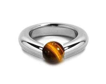 Tiger Eye Modern Tension Set Ring Stainless Steel