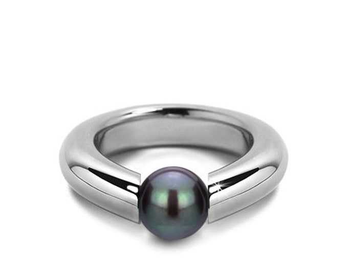 Tension Set Black Pearl Tapered Ring in Stainless Steel