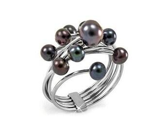 Black Pearls Cluster Ring Stainless Steel