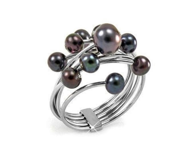 Black Pearls Cluster Ring Stainless Steel