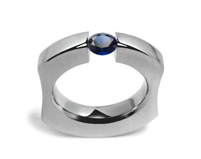 Blue Sapphire Ergonomic Tension Set Ring in Stainless Steel