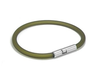 Green Rubber Bracelet 5mm Rubber 6mm Clasp by Taormina Jewelry