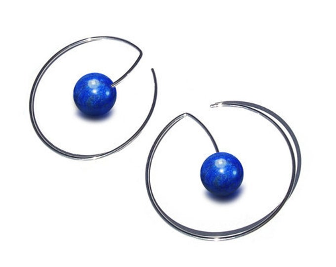 Lapis Lazuli Wire Round Earrings in Stainless Steel