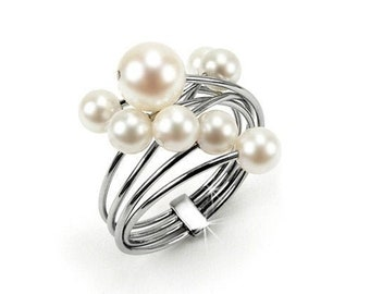 White Pearls Cluster Ring in Stainless Steel Bridal Jewels by Taormina Jewelry