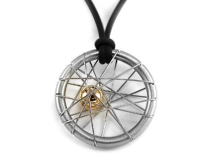 Unique Intricate Wire Two Tone Pendant  in Stainless Steel with Gold Sphere by Taormina Jewelry