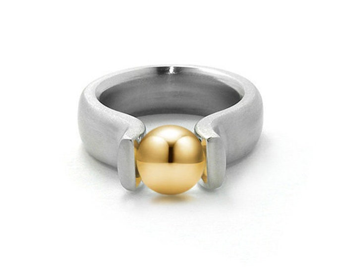 Stainless Steel and Gold Two Tone Ring Tension Set