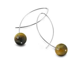 Tiger Eye Wire Earrings Design Stainless Steel by Taormina Jewelry