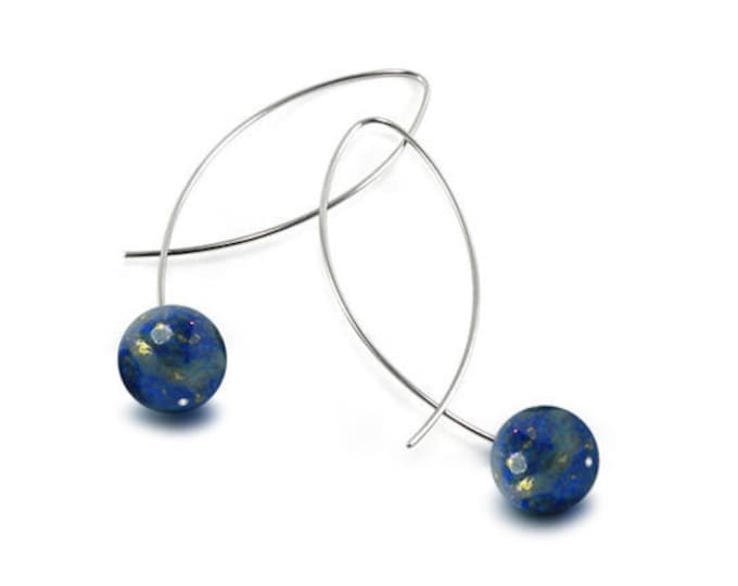 Lapis Lazuli Wire Earrings Design Stainless Steel by Taormina Jewelry