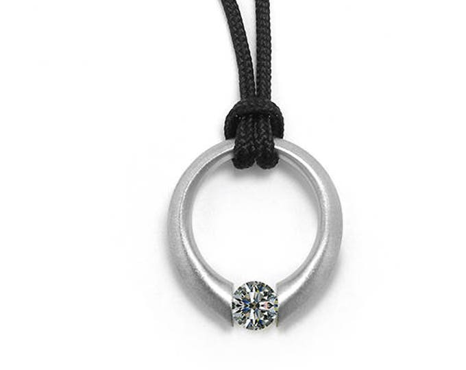 White Sapphire Tension Set Pendant in Stainless Steel