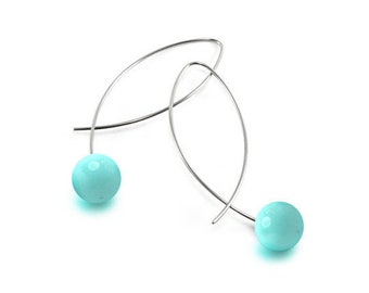 Turquoise Wire Earrings Design Stainless Steel by Taormina Jewelry