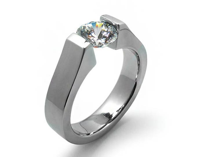 Unique Engagement Tension Ring with 2ct, 1.5ct, 1ct, 0.75 Moissanite Setting in Stainless Steel