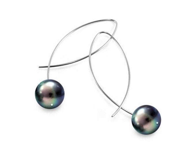 Black Pearls Wire Drop Earrings Design Stainless Steel