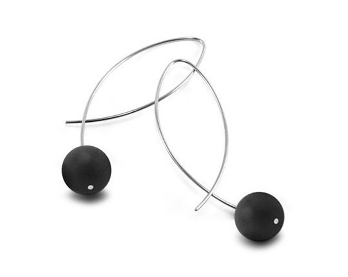 Black Obsidians Wire Earrings Design Stainless Steel by Taormina Jewelry