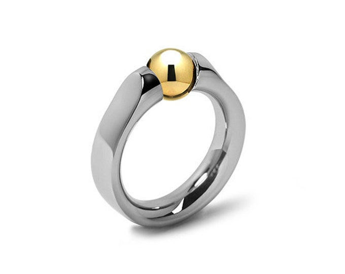 Gold and Stainless Steel Tension Ring Two Tone design