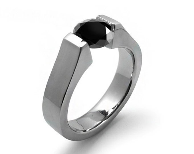 1.5 ct Black Onyx Tension Set Modern Ring Stainless Steel