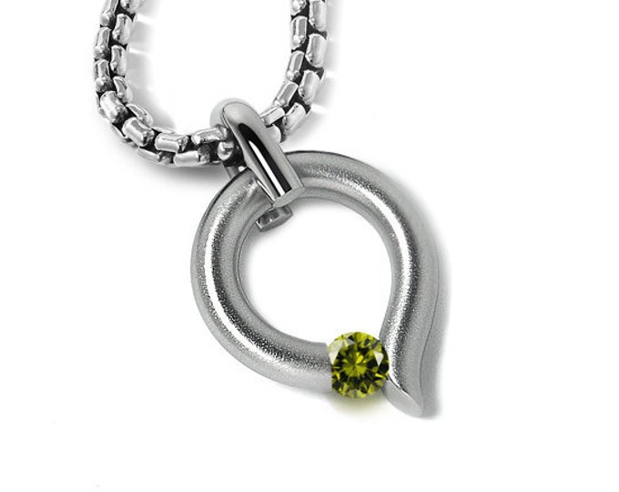 Peridot Tension Set Tear Drop Pendant in Stainless Steel by Taormina Jewelry