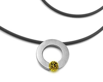 Yellow Sapphire Tension Set Necklace in Stainless Steel by Taormina Jewelry