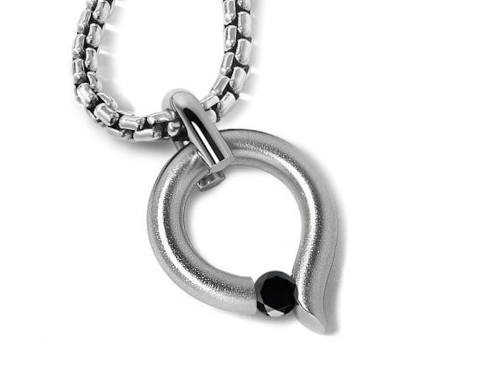 Black Diamond Tension Set pendant in Stainless Steel by Taormina Jewelry