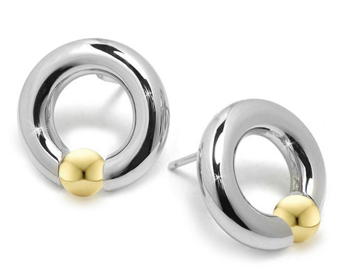 Circle Earrings with Tension set Gold Spheres in Stainless Steel by Taormina Jewelry