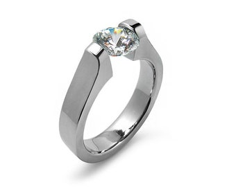 2ct Contemporary White Sapphire Engagement Ring Tension Set Steel