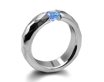 0.75ct Blue Topaz Tension Set Hammered Stainless Steel Mounting by Taormina Jewelry
