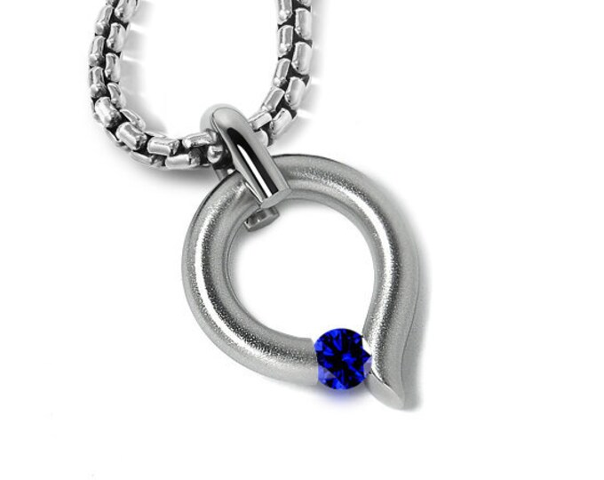 Blue Sapphire Tension Set Tear Drop Pendant in Stainless Steel by Taormina Jewelry