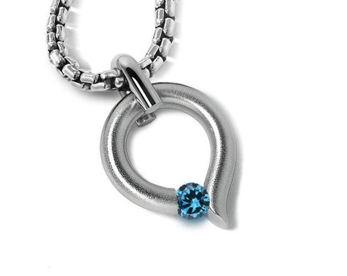 Blue Topaz Tension Set Tear Drop Pendant in Stainless Steel by Taormina Jewelry