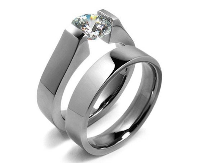 Unique Engagement Ring with 2ct, 1.5ct, 1ct and 0.75 White Sapphire High Tension Setting in Stainless Steel