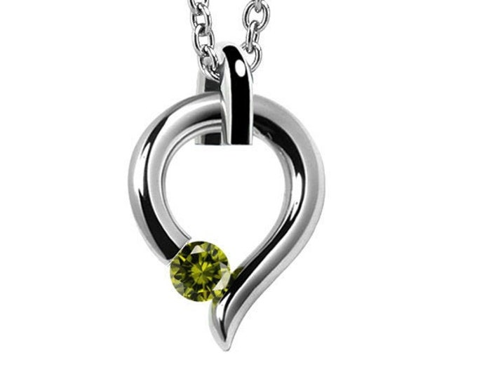 Peridot Tension Set Tear Drop Pendant in Stainless Steel