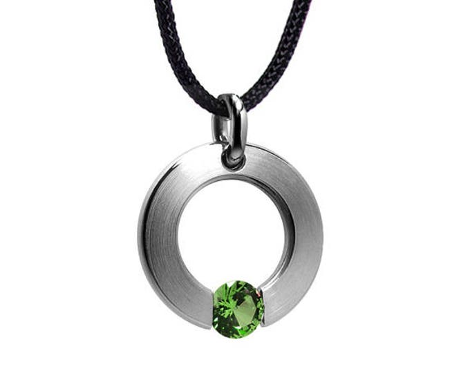 Peridot Tension Set Pendant in Stainless Steel