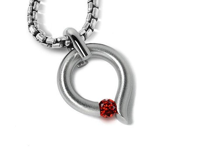 Garnet Tension Set Teardrop Shaped Pendant in Stainless Steel by Taormina Jewelry